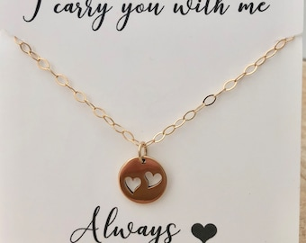 Double Miscarriage Necklace, Infant Loss Jewelry, Heart necklace, Sympathy gift, Gold heart Necklace, Twin loss