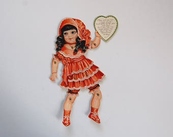 Vintage Valentine Card, Articulated Paperdoll Valentine Card, Mechanical Doll Card