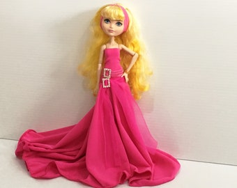 Dress, Headband and Belt made to fit Monster High Dolls and Ever After High Dolls - Handmade Doll Clothes