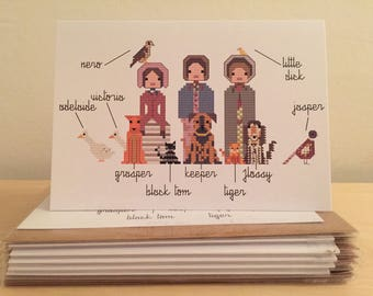 The Brontë Sisters and their Pets blank greeting card