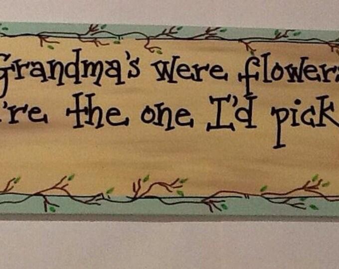 Grandma sign, flower door sign, garden door sign, grandma door sign, grandma door hanger, nana door sign, grandmother door sign,