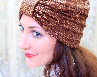 Sequin Turban Hat - Women's Hair Turbans  with Copper Sequins on Chocolate Brown - Sequin Headwrap - by Mademoiselle Mermaid