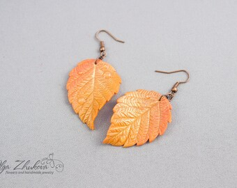 Autumn leaf earrings Fall leaf earrings Yellow leaf polymer clay Chandelier Earrings Polymer clay jewelry