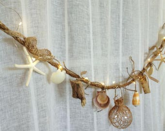 Seashell Garland, Coastal Garland,Beach Garland,Lighted Garland, Nautical Garland