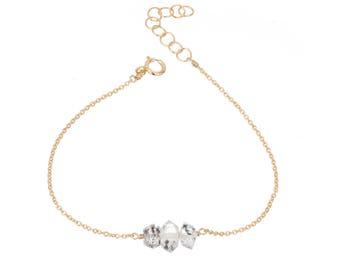Herkimer diamond 3 stone elements gold filled adjustable chain bracelet