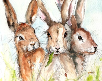 Hare Print- Illustration Painting - Watercolor Art -6x4 Print A4 print set in amount-hare, farm, animal,modern,art, painting,country, rabbit