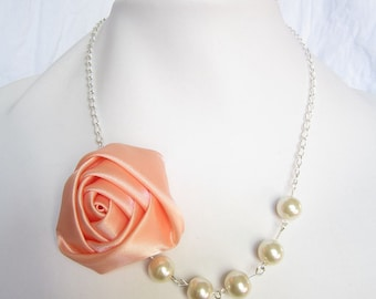 Silk Ribbon Fabric Rosette Flower Necklace,Color Coral Necklace,Pearl Necklace,Party Bridesmaid Necklace,Love Gift