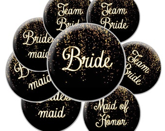 16 Team Bride Buttons - Black and Gold Glitter Team Bride - Black and Gold Bridal Buttons - Bachelorette Party Buttons