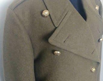 Vintage 60s Dutch army wool coat long
