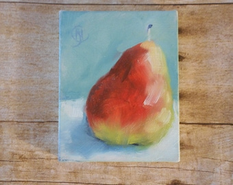 Small Original Oil Painting Pear