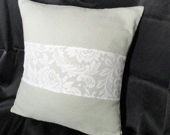 "Burlap pillow cover, soft green burlap, moss green linen pillow cover, Shabby cottage decor, romantic lace pillow cover, 18"" Cottage pillow"