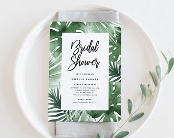 Editable Template - Instant Download Tropics Bridal Shower Invitation