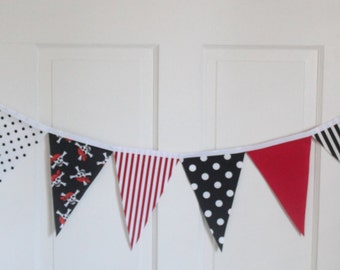 AHOY MATEY PIRATE Theme Fabric Bunting Pennant Banner