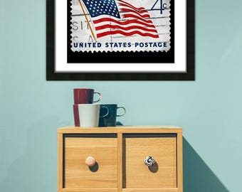 American Flag Stamp, American Flag, Flag Stamp, Vintage Stamp, 4th of July,