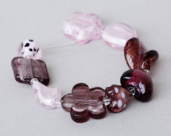 Lampwork Bead Set #4 - Purple Glass Beads - Amethyst Glass Beads - Jewelry Making - Beading