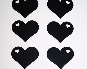 "Heart Paper die cuts / black hearts/ card-stock paper/ size 2"" x 1.5"""