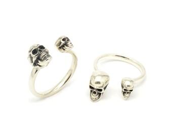 Adjustable Silver Skull Ring - Open Skull Ring - Skull Jewellery - Magna Parva Skull Ring - Sterling Silver
