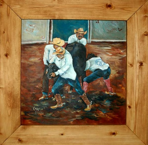 Wild Cow Milking a Waggoner Ranch Painting | Original Rodeo Painting