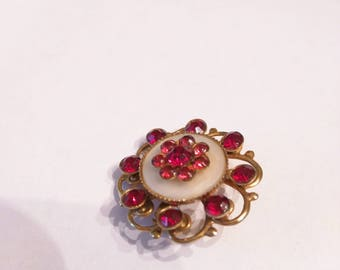 Vintage Red and White Brooch