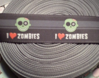 I Love Zombies Grosgrain Ribbon, horror ribbon