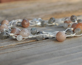 Balancing, Sunstone, Labradorite, Moonstone, Healing Necklace, Knotted Necklace, Crystal Healing, Meditation, Yoga, Spiritual, Cord Necklace