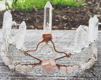 Aphrodite Rose Quartz Crystal Crown