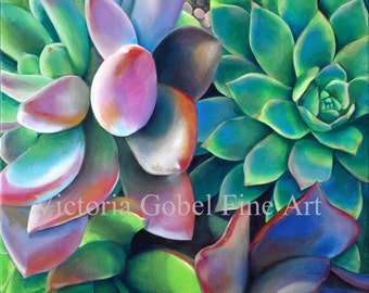 Succulent Original Art by Victoria Gobel - 20 x 25 Giclee Print on Boxed Canvas