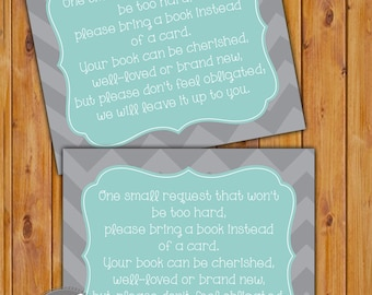 In Lieu of card, Book Baby Shower Invitation Inserts Instead of a Card Blue Grey Chevron Printable PDF--Instant Download