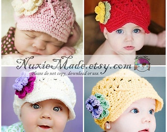 Newborn Baby Hat, Choose Your Color Hat, Custom Color Baby Hat, Hat for Babies, Baby Hat with Flowers, Girls Baby Hat, Girls Hat, Child Hat