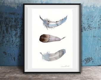 Original-Gemälde von 3 Federn. Handbemalter Aquarell Kunst. Vogel-Feder-Aquarell. Originale Gemälde von 3 Federn. Feder-Wand-Kunst