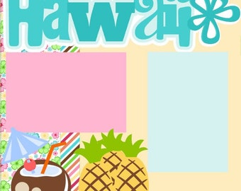 Scrapbook Page Kit Hawaii Premade Scrapbook Pages 2-page 12X12 Scrapbook Page Kit or Premade Layout