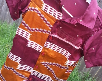 Youth Boys Short Sleeve, Ethnic Indian Sari Silk Button Down Shirt - Burgundy Rust - Gavril 3089