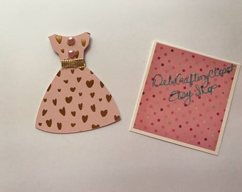 Mini Dress Bookmarks, Bible Journaling, War Binder Embellishments. Pink with Gold Foiled Hearts