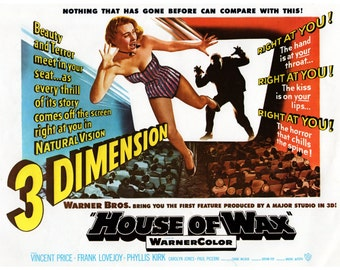 "Vintage Horror Science Fiction Movie Poster Print, 1953, The House of Wax, PMSF 11"" x 14"""