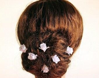 Rose Buds Hair Pins, White Bridal Clips, Silk Rose Bobby Pins, Wedding Hair Pins, Bridesmaid Hair Pins, Bridal Hair Pins, Rose Hair Clips