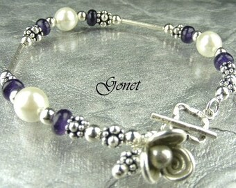 South Sea Shell Pearl and Amethyst Bracelet (Enchanting)  by Gonet Jewelry Design