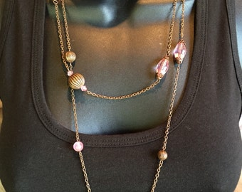 Brass Filigree Pink Bead Long Necklace