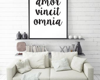 Amor Vincit Omnia, Love conquers all, Latin Quote Print, Anniversary Gift, Wedding Gift, Quote, Wall Decor, Motivational Print, Large size