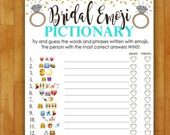 Bridal Shower Game EMOJI Pictionary - Teal Blue and Gold - Instant Printable Digital Download - diy Bridal Shower Printables