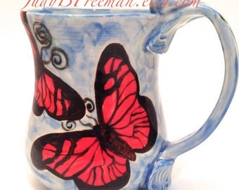 Handmade Stoneware Mug Red Butterflies on Blue 12 Ounces Made to Order MG0027