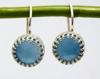 MOTHER'S DAY SALE - post earrings,blue onyx earrings,large round earrings,gemstone earrings,silver earrings