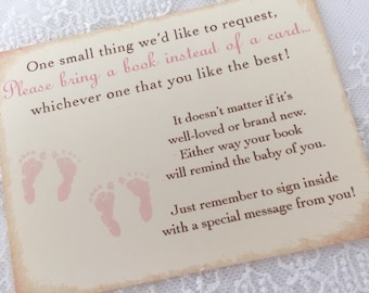 Twin Girl Bring a Book Inserts, Twin Girl Intead of a Card Inserts, Pink Footprints, Set of 10