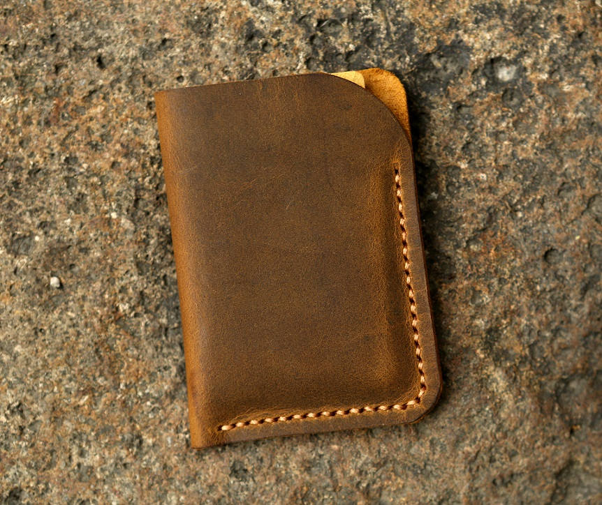 Minimalist leather credit card sleeve holder / personalized