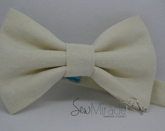 Linen bow tie - Mens bow tie - baby bow tie - child bow tie - Cream linen - Wedding - Groom - Gift for him