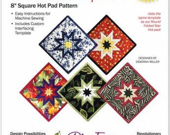 """Folded Star Squared Hot Pad Pattern 8"""" Square"""