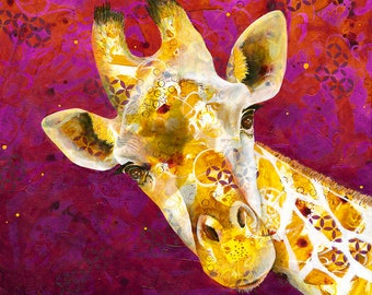 Just Giraffe - Michelle Gilks giraffe portrait Africa jungle animal wildlife conservation purple yellow Fine Art Print