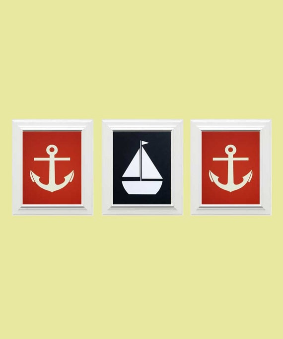 Set of 3-Custom Nautical Picture, Sailboat/Anchor Picture, Children's Wall Art, Nursery Art-Red, Navy Blue, White
