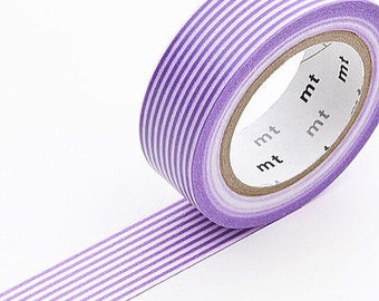 MT 10m Washi Masking Tape -  Purple Stripe Design - Masking Tape - Excellent Quality - Made in Japan - Ready to Ship