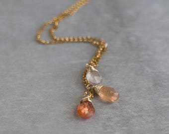 Sunstone Necklace, Gift for Mom, Gift for Wife, Sunstone Jewelry, Gemstone Necklace, Sunstone Pendant, Cascade Necklace, Cleavage Necklace