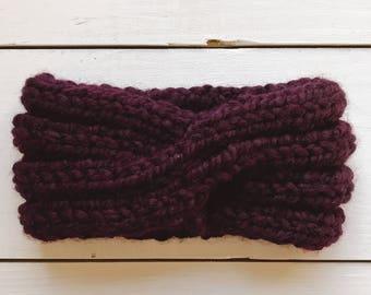 Selma / Headband Hand-Knit Chunky Turban Eggplant Purple